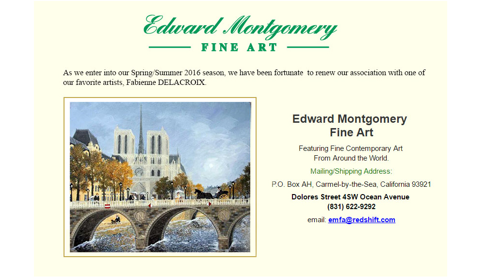 EDWARD MONTGOMERY FINE ART : Printemps/Été 2016