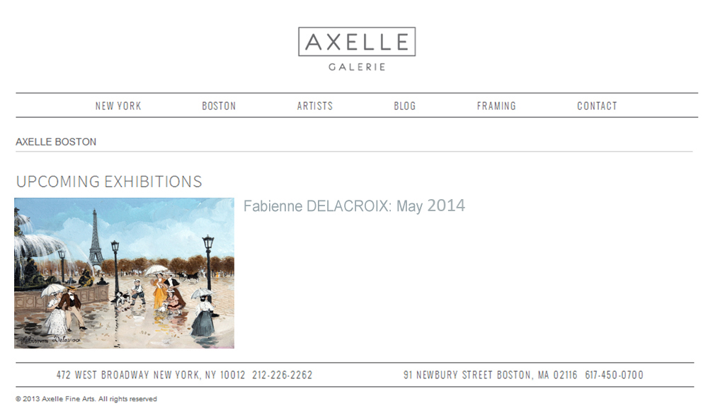 AXELLE BOSTON : UPCOMING EXHIBITIONS - Fabienne Delacroix - MAI 2015