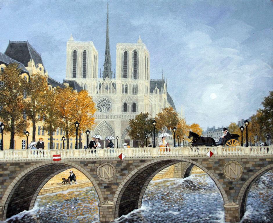 Le pont St-Michel - Fabienne Delacroix - Artiste peintre