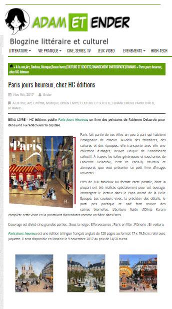 Adam et Ender : « Paris jours heureux » publié par les éditions HC