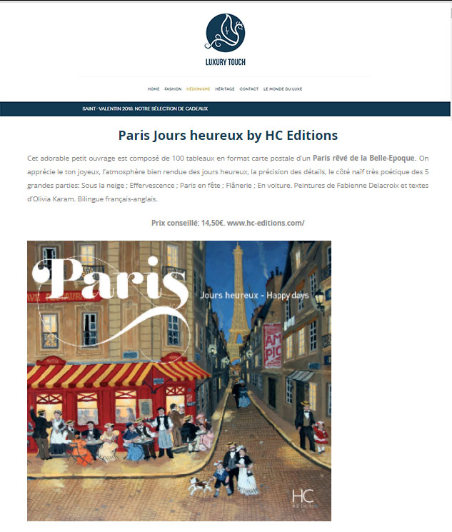 LUXURY TOUCH: Paris Jours heureux by HC Editions