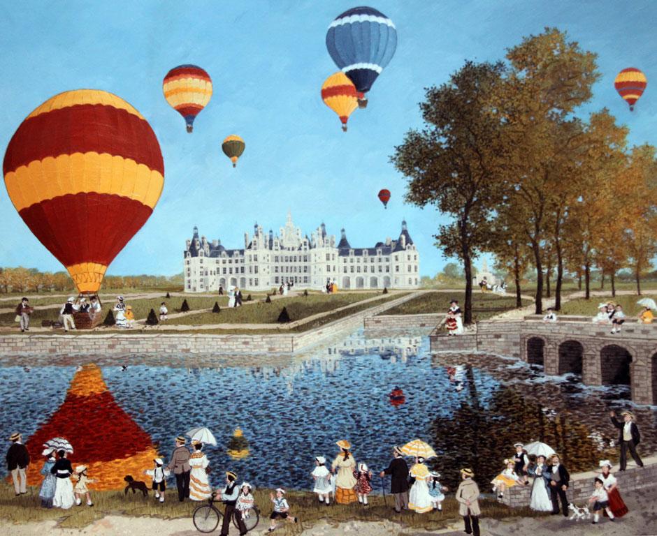 Ballons à Chambord - Fabienne Delacroix - Artiste peintre