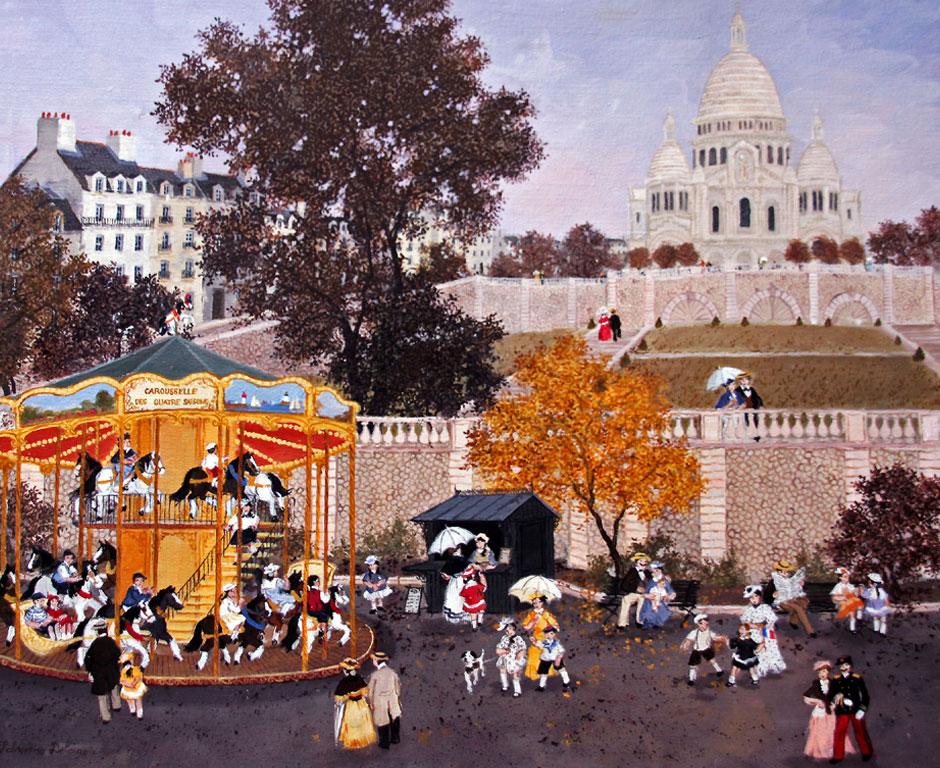 Manège à Montmartre - Fabienne Delacroix - Artiste peintre