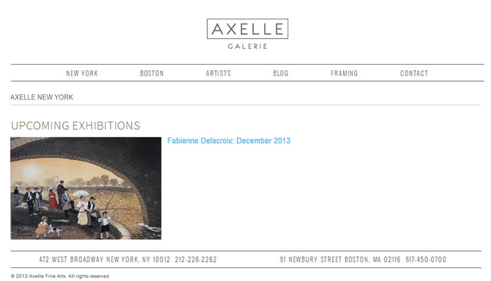 AXELLE NEW YORK UPCOMMING EXHIBITIONS : Fabienne Delacroix - December 2013