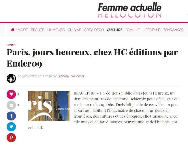 Femme actuelle : Les jours heureux à Paris, chez HC éditions
