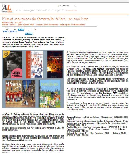 ActuaLitté : 5 livres pour s'émerveiller sur Paris…