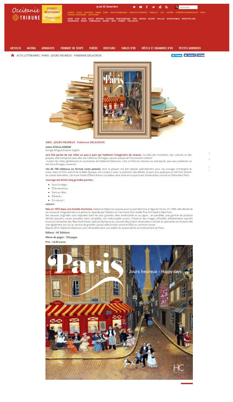 Occitanie Tribune : « Paris jours heureux » chez HC Editions en édition bilingue